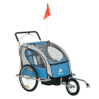 Aosom Elite 2in1 Double Child Bike Trailer / Jogger - Blue