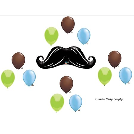 DASHING LITTLE MAN MUSTACHE BABY SHOWER BIRTHDAY Balloons Decorations Supplies12 Pieces