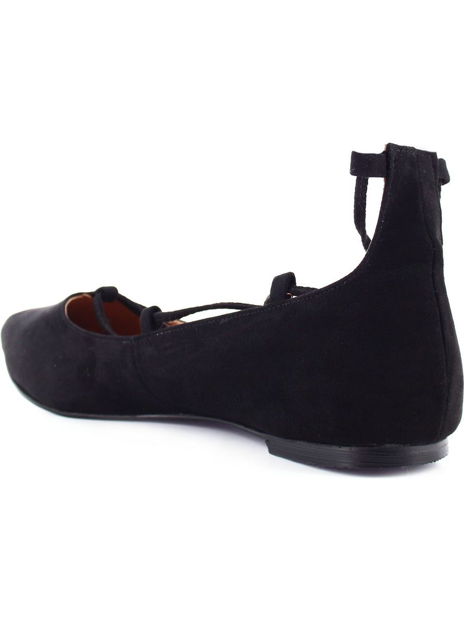 Ceresnia Adult Black Pointed Toe Lace-Up Comfort Stylish Flats