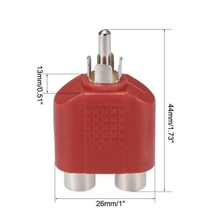 RCA Male à 2 RCA Femelle Séparateur Rouge 4Pcs Stéréo Audio Video Cable Convert - image 1 de 3