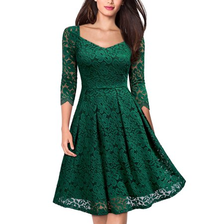 MIUSOL Women's Vintage 1950s Floral Lace Evening Cocktail Party Pleated Dress(Green,Size XXL)