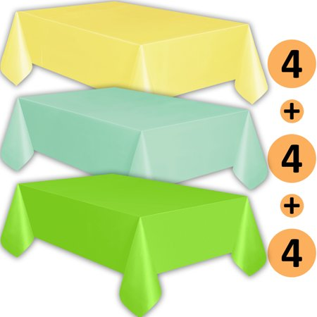 12 Plastic Tablecloths - Lemon yellow, Mint, Lime Green - Premium Thickness Disposable Table Cover, 108 x 54 Inch, 4 Each - Mint Green Plastic Tablecloth