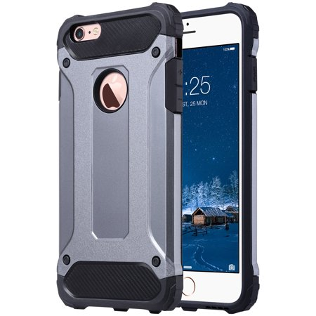 iPhone 6 Plus Case, iPhone 6s Plus Case, ULAK Slim Shockproof Full Body Rugged Protective Phone Case for Apple iPhone 6/6s Plus Without Built-in Screen Protector, Gray & Black -  EUACC018L004