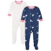 Gerber Baby & Toddler Girls Snug Fit Cotton Footed 1pc Pajamas, 2-Pack (0/3M-5T)