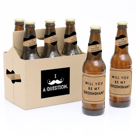 Kraft Mustache - Will You Be My Groomsman Party Decorations for Women and Men - 6 Beer Bottle Label Stickers and - Will You Be My Groomsman