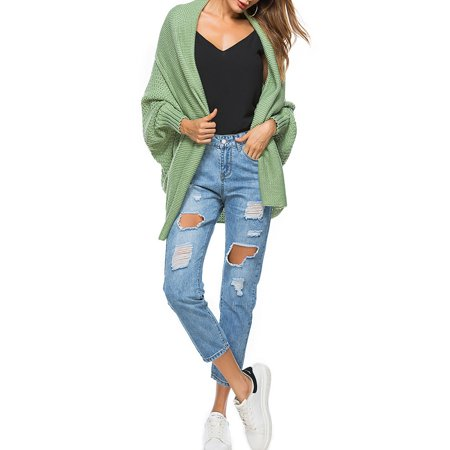 04c76090a796 HIMONE - Women Winter Baggy Cardigan Coat Top Chunky Knitted Batwing Sleeve  Oversized Sweater Jumper Loose Open Front Knit Jacket - Walmart.com