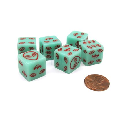 Koplow Games Pack of 6 Alien UFO 16mm D6 Glow in the Dark Dice - Green with Red Etches #16858 - Glow Games