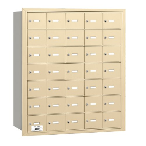 SALSBURY INDUSTRIES 3635SRP Horiz Mailbox,Prvt,35Dr,Sand,RL,40-3/4in