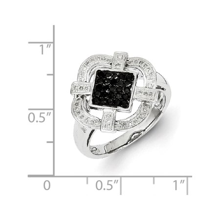 Sterling Silver Black & White Diamond Ring - image 5 de 6