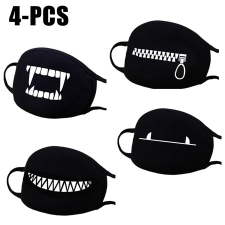 4PCS Mouth Mask, Aniwon Winter Cute Unisex Cotton Anti Dust Earloop Face Mask Facial Mouth Mask Kpop Mask for Men & Women (Black) - Black Face Halloween Mask