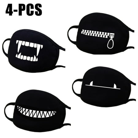 4PCS Mouth Mask, Aniwon Winter Cute Unisex Cotton Anti Dust Earloop Face Mask Facial Mouth Mask Kpop Mask for Men & Women (Black)