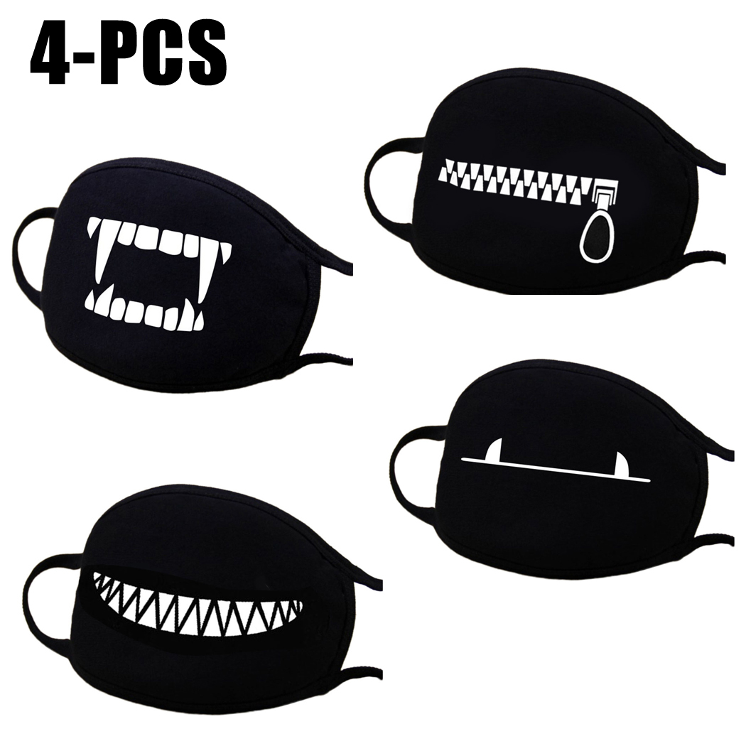 4PCS Mouth Mask, Aniwon Winter Cute Unisex Cotton Anti Dust Earloop Face Mask Facial Mouth Mask Kpop Mask for Men & Women (Black)