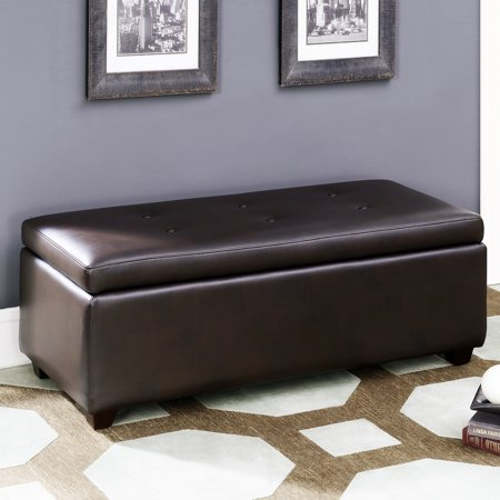 AC Pacific Brown Leather-infused Fabric Button Tufted Storage Ottoman ()