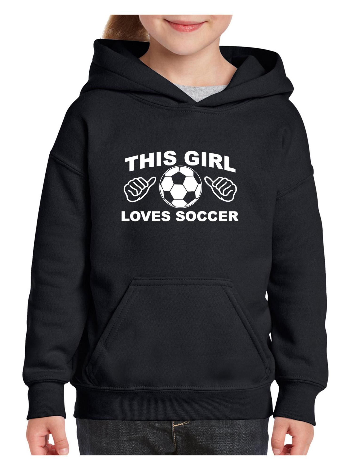 Soccer This Girl Loves Soccer Unisex Hoodie For Girls and Boys Youth Sweatshirt
