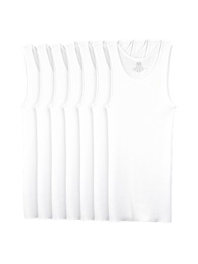 Fruit of the Loom Super Value Classic White Tank Undershirts, 7 Pack (Little Boys & Big Boys)