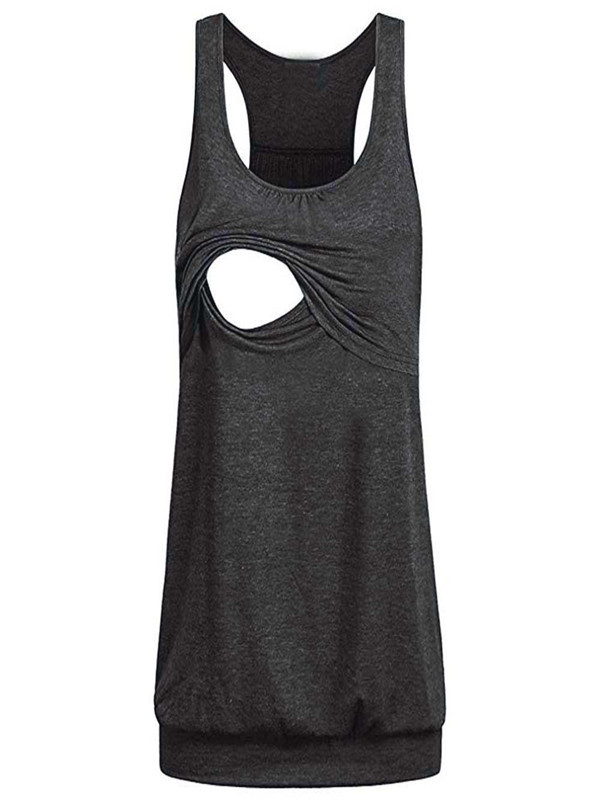 Women Maternity Loose Comfy Pull-up Nursing Tank Tops Vest Breastfeeding Shirt by