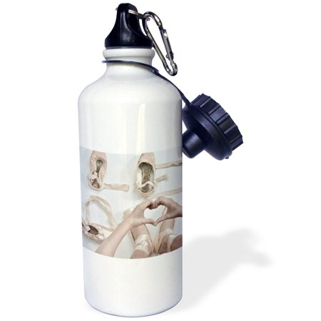 3dRose The word Love created with pointe shoes, ribbons and hands, Sports Water Bottle, (Createx Bottles)
