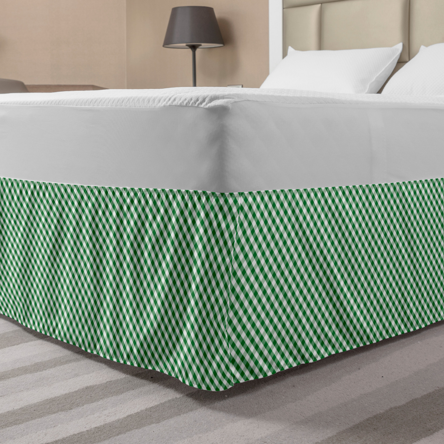 Abstract Green Bed Skirt Gingham Pattern Crossing Lines And Little Squares Elastic Bedskirt Dust Ruffle Wrap Around For Bedding Decor 4 Sizes Forest Green Fern Green By Ambesonne Walmart Com Walmart Com