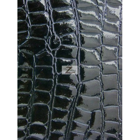 Vinyl Faux Fake Leather Pleather Embossed Shiny Alligator Fabric / Black / Sold By The Yard