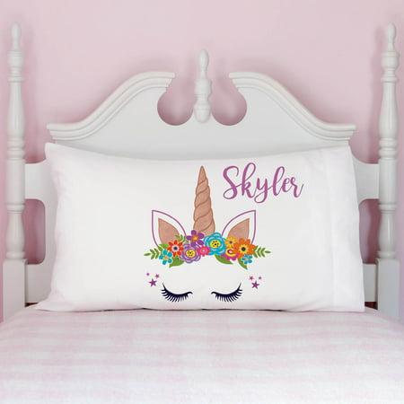 Personalized Pillowcase (Happy Unicorn Girls Personalized Pillowcase)