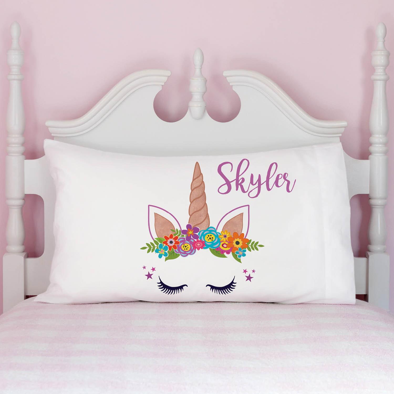 Happy Unicorn Girls Personalized Pillowcase