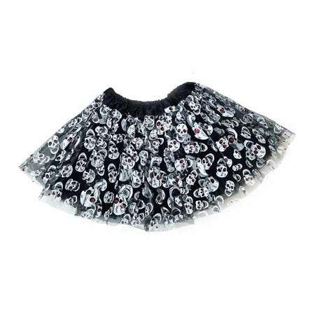 Mozlly Mozlly Black & White Stretchable Pull On Tutu for Girls Decorated w/ Skulls One Size Fits Most Children's Ballet Costume Princess Fairy Halloween Outfit Comfortable Tutu Skirt w/ Garter - Fairy Outfits