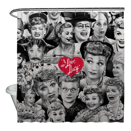 I Love Lucy Faces Shower Curtain White 71X74