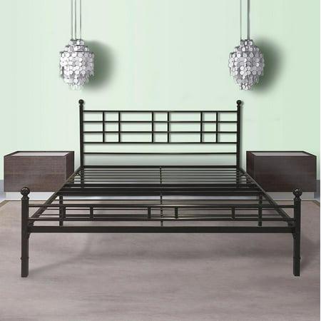 Best Price Mattress Easy Set-up Steel Platform Bed with Headboard, Multiple Sizes Black Twin Platform