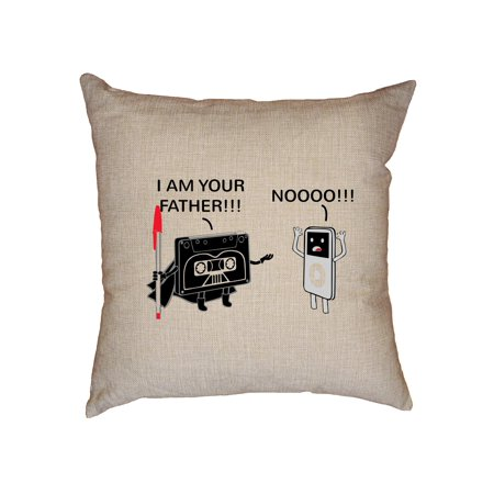 I'm Your Father - Modern MP3 Player Versus Cassette Tape Decorative Linen Throw Cushion Pillow Case with