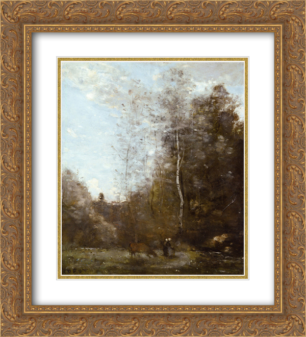 Camille Corot 2x Matted 20x24 Gold Ornate Framed Art Print 'A Cow Grazing beneath a Birch Tree'