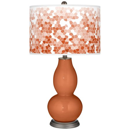 Color + Plus Robust Orange Mosaic Giclee Double Gourd Table Lamp