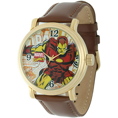 Iron Man Men's Vintage Gold Shiny Alloy Case Watch, Brown Leather Strap](Vintage Witch)