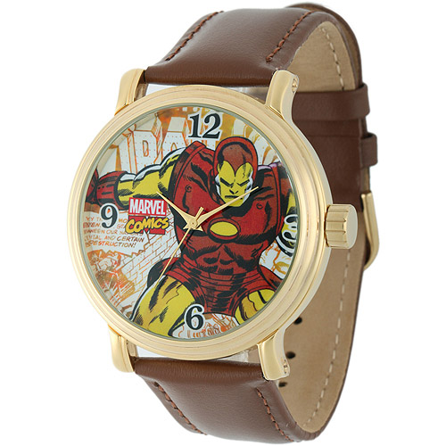 Iron Man Men's Vintage Gold Shiny Alloy Case Watch, Brown Leather Strap
