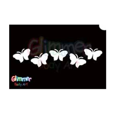 Glimmer Body Art Glitter Tattoo Stencil Butterfly 13 5/pk (Tattoo Glitter Stencil Kit)