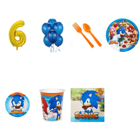 SONIC BOOM SONIC THE HEDGEHOG PARTY SUPPLIES PARTY PACK WITH GOLD #6 BALLOON