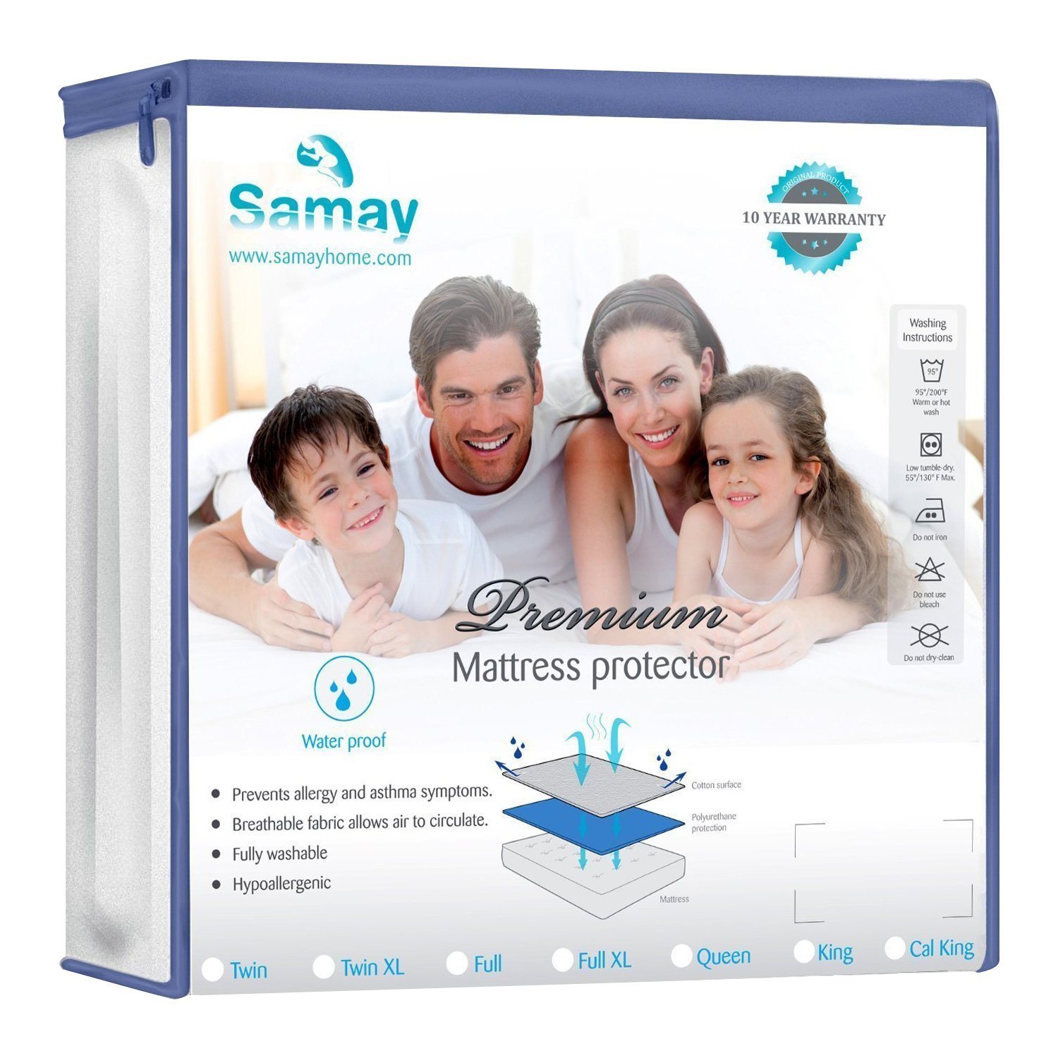 Waterproof Mattress Cover Full Size 55 x 76 x 16 Inches Premium Hypoallergenic Mattress... by SAMAY
