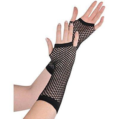 Long Sleeve Black Gloves (long fishnet gloves - black)