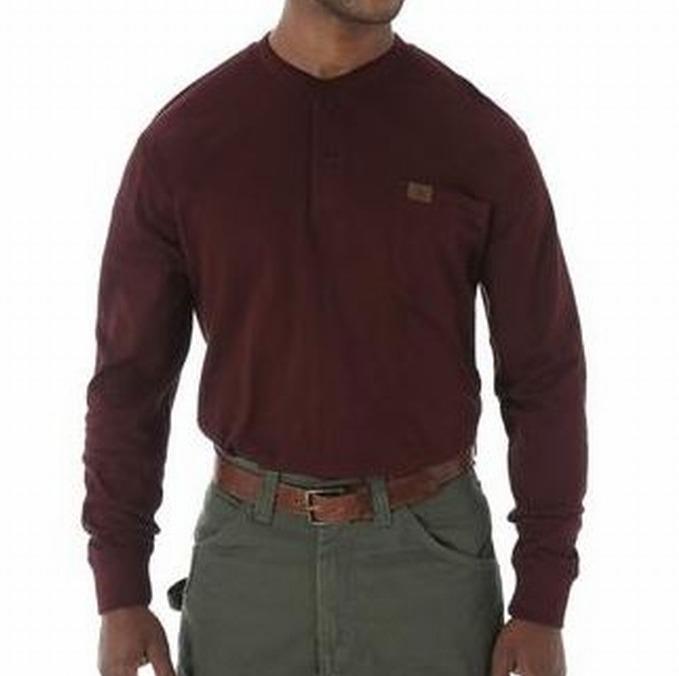 Burgundy X-Large Wrangler Riggs Workwear Men/'s Long Sleeve Henley