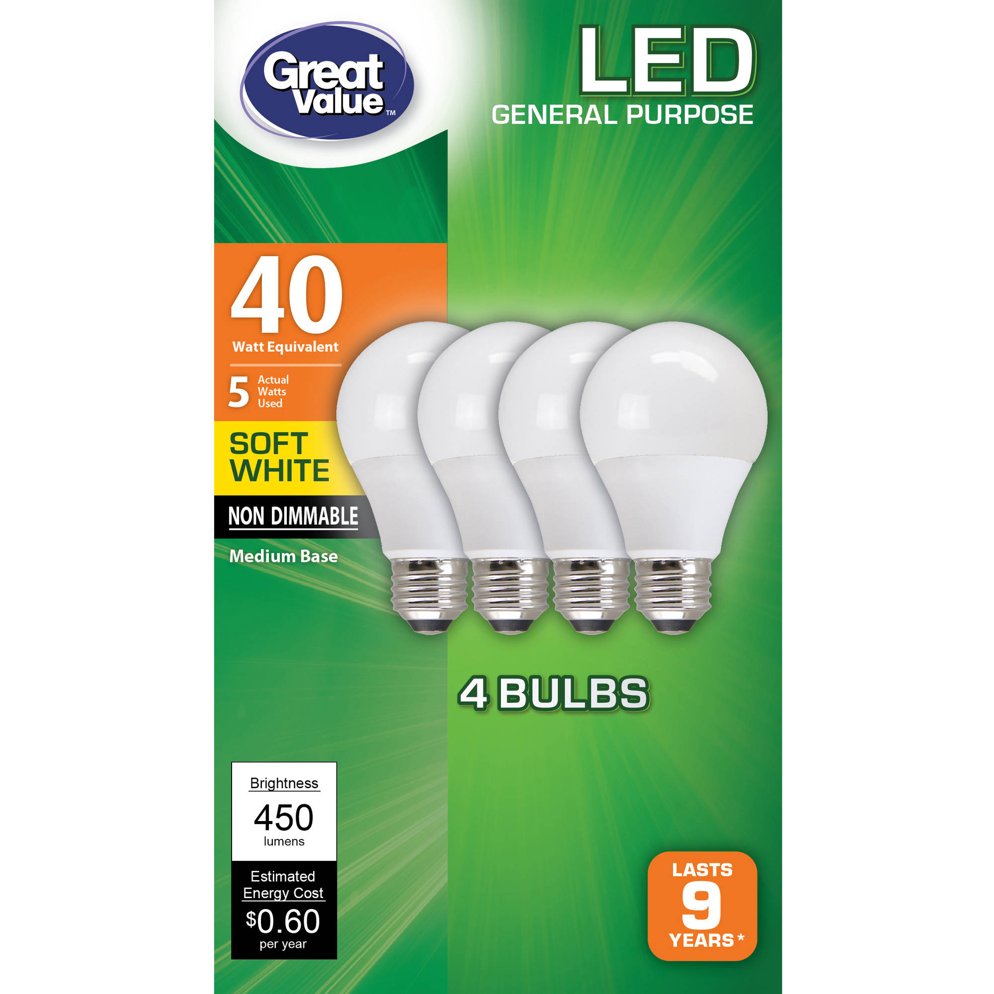 Great Value LED Ligh Bulbs 5W, 40W Equivalent, Soft White, 4-Pack