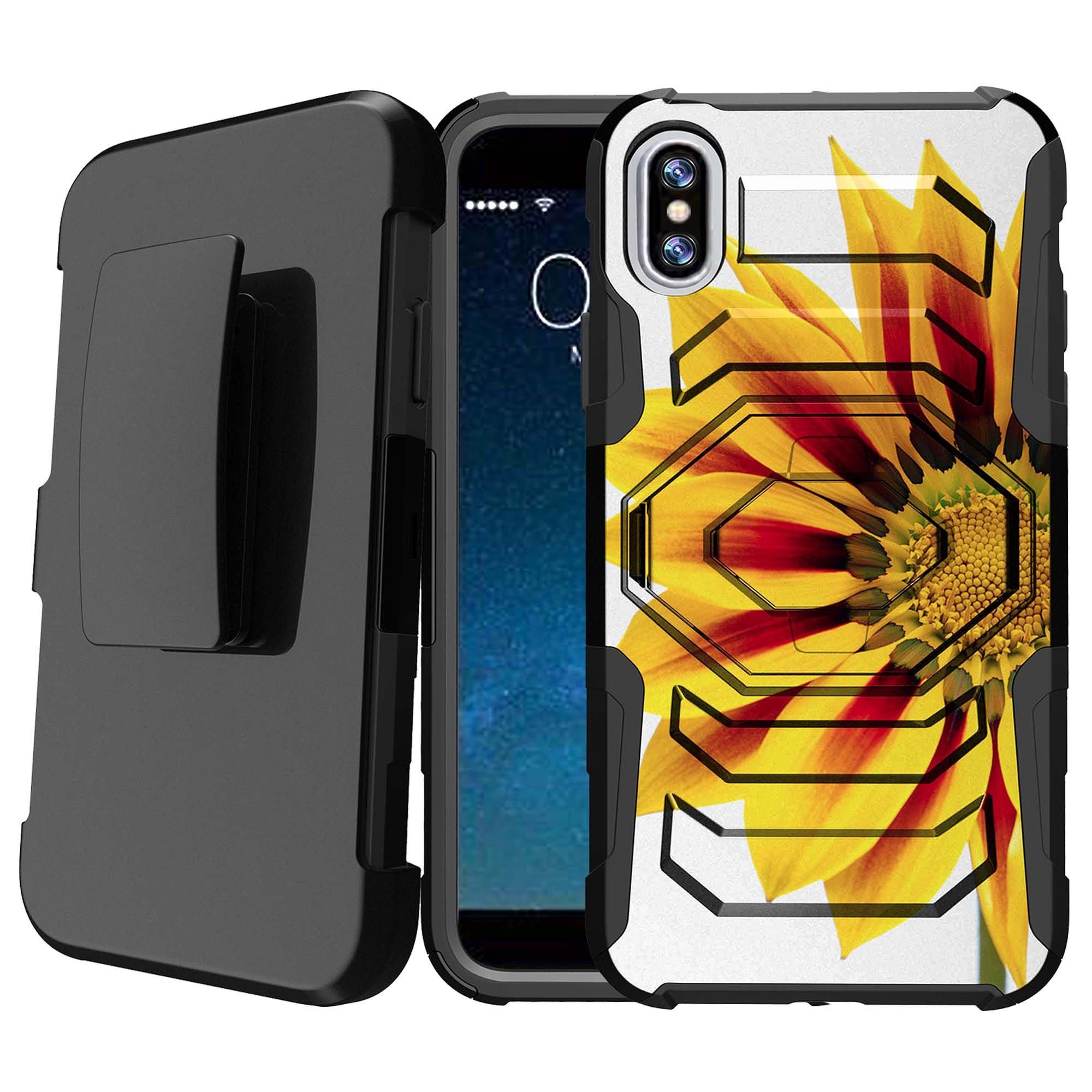 Apple iPhone X Scratch-Resistant Case [Armor Reloaded for iPhone X] Hard-Impact Rugged Swivel Impact Holster Case for iPhone X w/ Locking Kickstand Feature - Yellow Sunflower