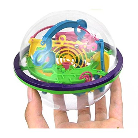 Adult Magic 8 Ball (Magic ball puzzle, 3D Maze Ball Diameter 4.4` Containing 100 Challenging Barriers (Colors May)