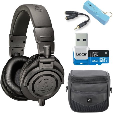 Audio Technica Ath M50xmg Limited Edition Studio Monitor Headphones Power Bundle Includes Headphones  2600Mah Portable Power Bank  32Gb Microsdhc Memory Card W  Reader  Headphone Splitter And Bag