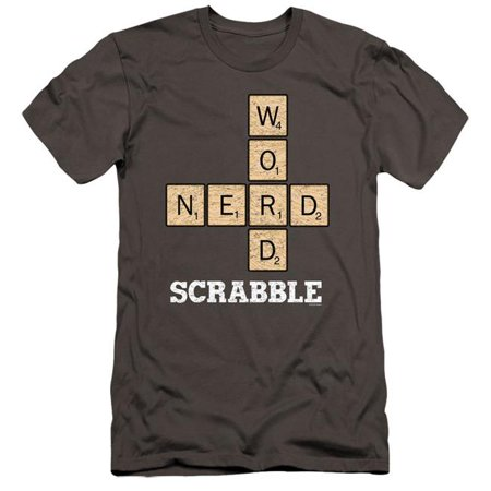 Trevco Sportswear HBRO284-PSF-3 Scrabble & Word Nerd-HBO Short Sleeve Adult 30-1 T-Shirt, Charcoal -