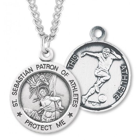 Boy's Sterling Silver Round Saint Sebastian Soccer Necklace with 24