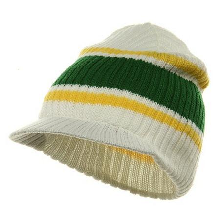 White Green Yellow Striped Campus Visor Jeep Skull Knit Winter Beanie Cap Hat ()