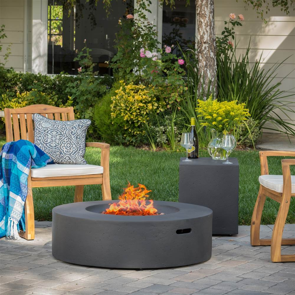 Circular Outdoor Gas Fire Pit Table with Tank Holder