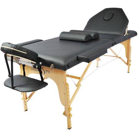Professional portable 2 foam folding adjustble back legs massage table black - Massage table professional ...