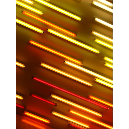 Canvas Print Red Neon Lights Orange Neon Light Yellow Abstract Stretched Canvas 10 x 14