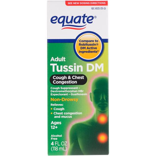 Equate Tussin DM Cough Non Drowsy Cough Suppressant/Expectorant, 4 fl oz
