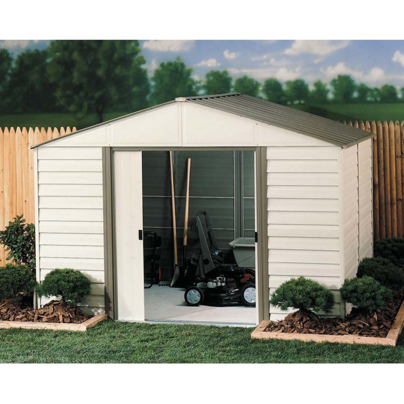 Arrow Group VM1012 Outdoor Storage Shed,115 cu. ft.,Almon...
